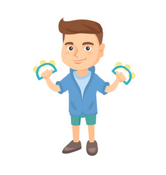 little caucasian boy playing the tambourine vector image vector image