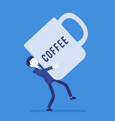 man carrying a giant coffee mug vector image