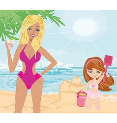 Mother and daughter on the beach vector image