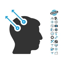 Neural interface plugs icon with copter tools vector