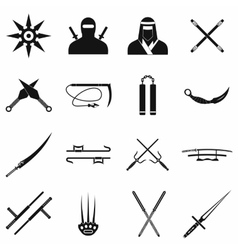 Ninja black simple icons set vector