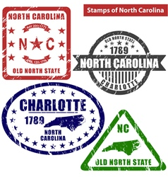 North Carolina in stamps vector image