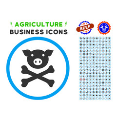 Pig death rounded icon with set vector