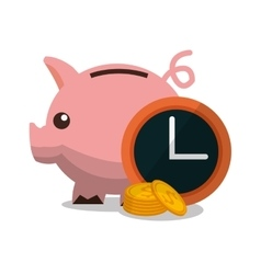 Piggy clock and money design vector