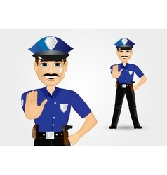 policeman with mustache showing stop gesture vector image vector image