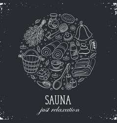 Sauna poster template vector