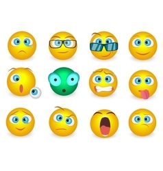 Set of Emoji face emotion icons isolated vector image vector image