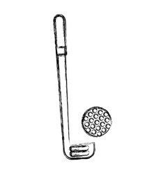 sketch draw golf club and ball vector image