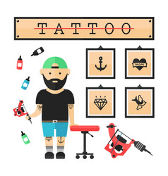 Tattoo artist master in salon vector