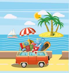 Travel tourism concept island cartoon style vector