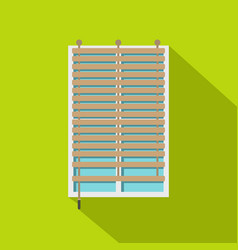 Window with wooden jalousie icon flat style vector
