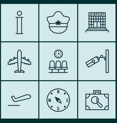 Set of 9 traveling icons includes information vector