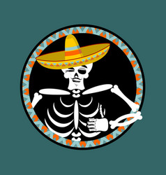Skeletons and sombrero day of the dead vector