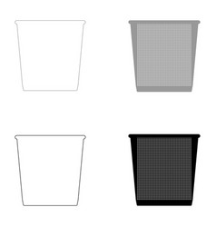 Trash bucket the black and grey color set icon vector