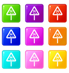 Slippery when wet road sign set 9 vector
