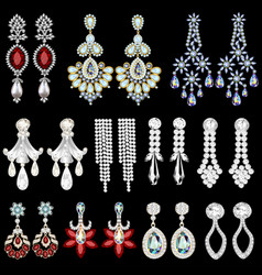 Set of jewelry earrings with precious stones vector