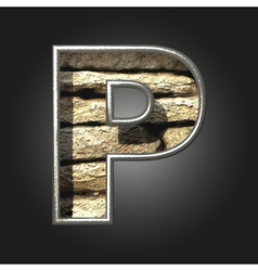 Old stone letter p vector