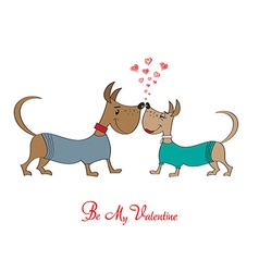 Valentine s day greeting card with cartoon dog vector