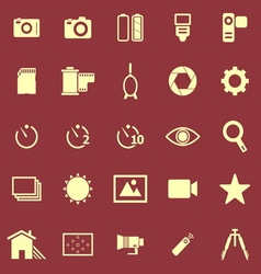 Camera color icons on red background vector