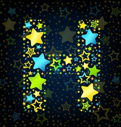 Letter h cartoon star colored vector