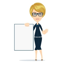 Business woman holding a poster vector