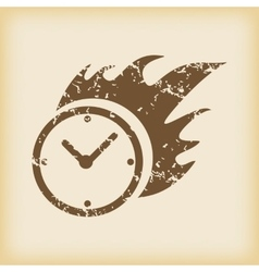 Grungy burning clock icon vector