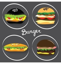 Set of fast food burgers burritos vector