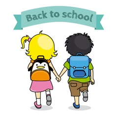 children holding hands back to school vector image