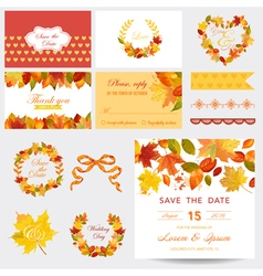 Scrapbook design elements - autumn leaves theme vector