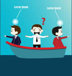 Two businessman with conflict thinking on boat vector