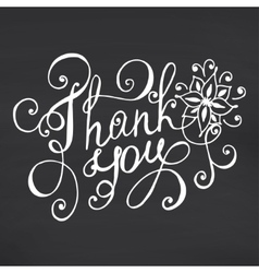 Thank you lettering floral hand drawn vector