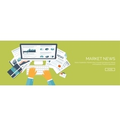 Flat header market news vector