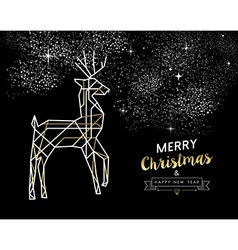 Merry christmas new year deer gold outline deco vector