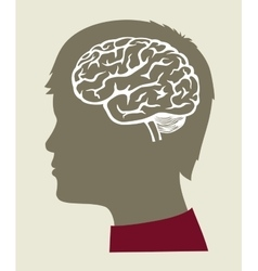 Black brain icon vector
