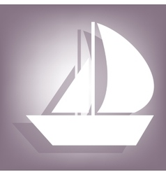 Sail boat icon with shadow vector