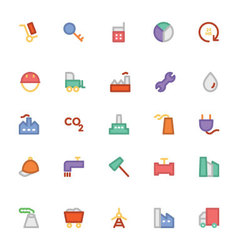 Industrial colored icons 8 vector