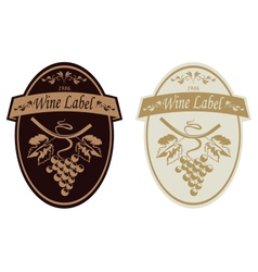Vintage wine label in two colors grape isolated vector