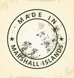 Stamp with map of marshall islands vector