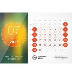 Desk calendar for 2017 year july design print vector