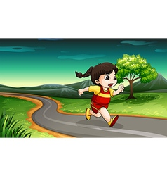 A young girl running vector image