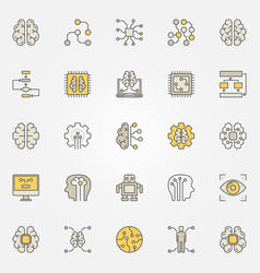 artificial intelligence colorful icons ai vector image