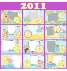 Babys calendar for 2011 vector image vector image