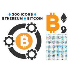 Bitcoin pool collaboration flat icon with vector