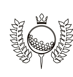 Black contour with olive branchs with golf ball vector