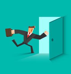 Businessman running in the open door vector
