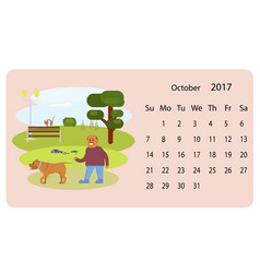 calendar 2018 for october vector image vector image