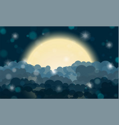 Cartoon cyan night shining cloudy sky with moon vector