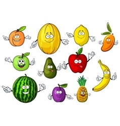 Cartoon funny garden and tropical fruits vector