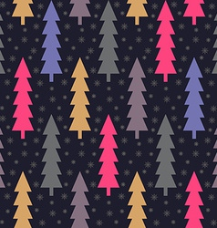 Christmas trees and snowflake seamless pattern vector image vector image