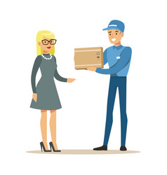 delivery service worker bringing the box to blond vector image vector image